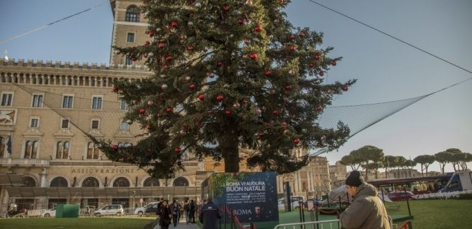 Rome's Christmas tree covered by safety net