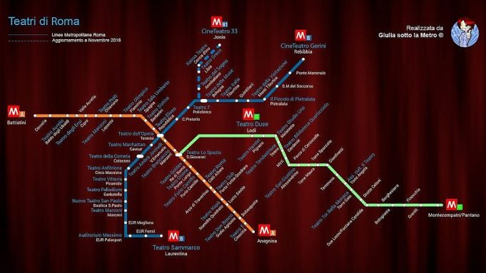 Rome's theatres on Metro map