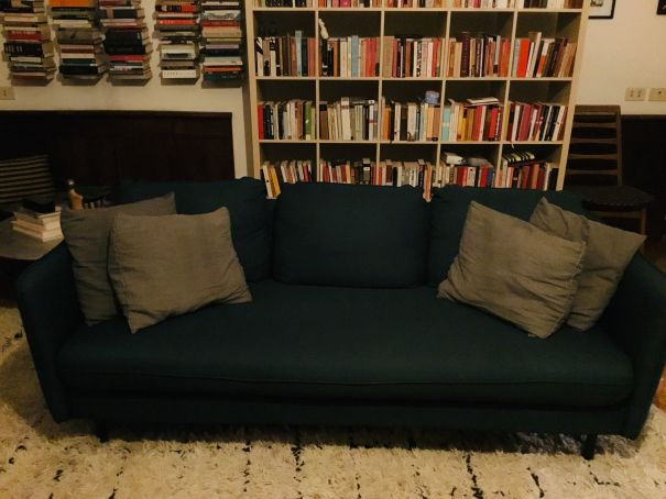 Blue couch, one year old & perfect condition