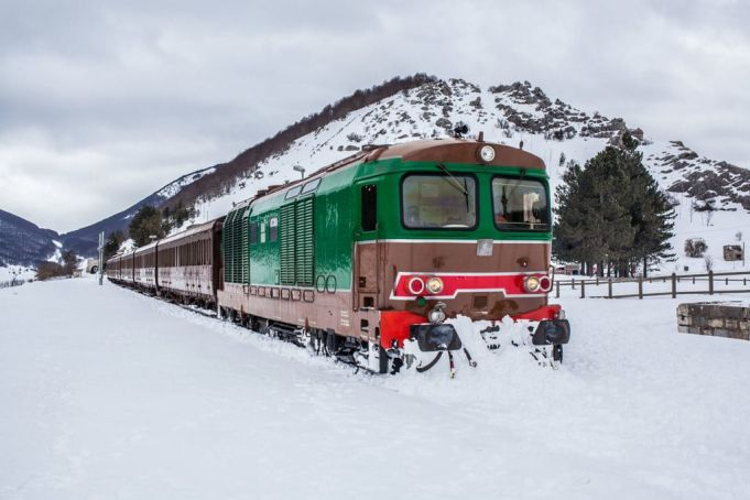 Vintage snow train from Rome to Roccaraso