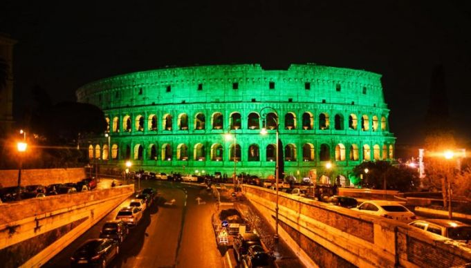 Colosseum turns green for St Patrick's Day in Rome