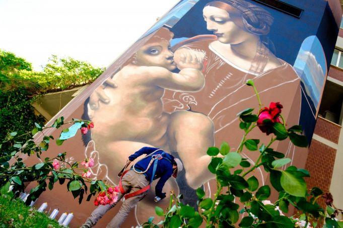 Leonardo da Vinci street art in Rome