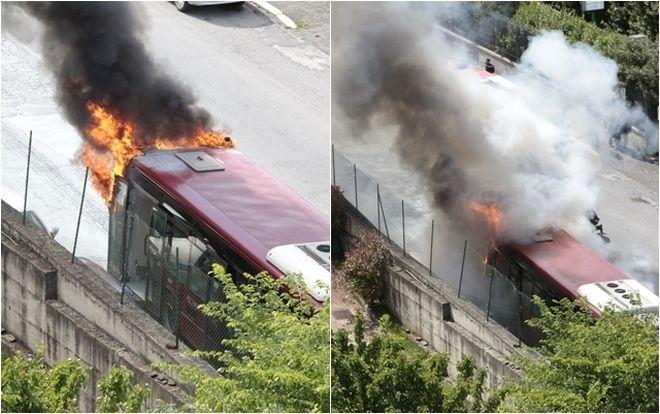 Rome city bus bursts into flames