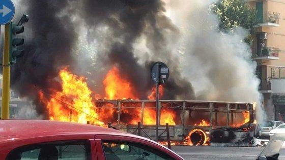 Rome city bus catches fire on Via Appia Nuova