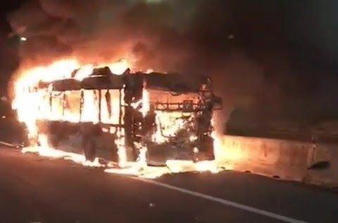 Rome bus bursts into flames