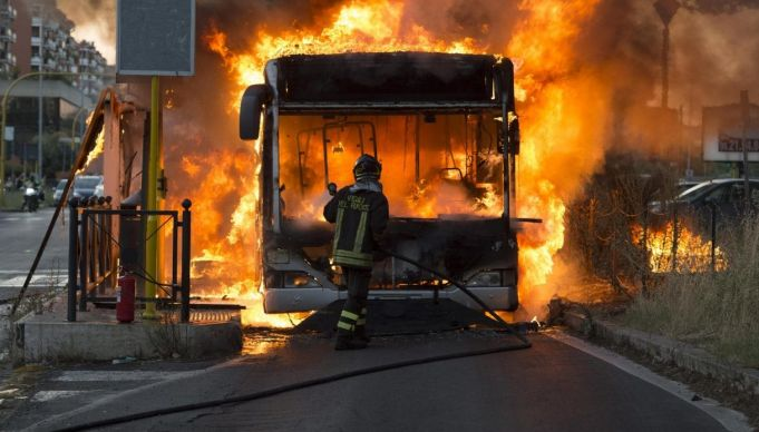 Three Rome buses catch fire in three days