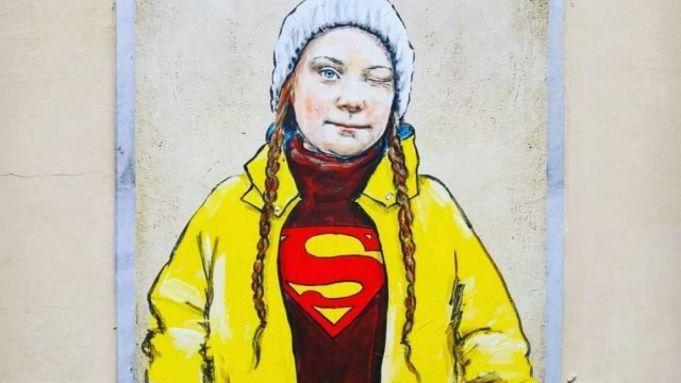 Greta Thunberg mural in Florence