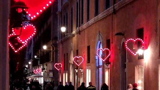 Rome street lights up with love for Valentine's Day