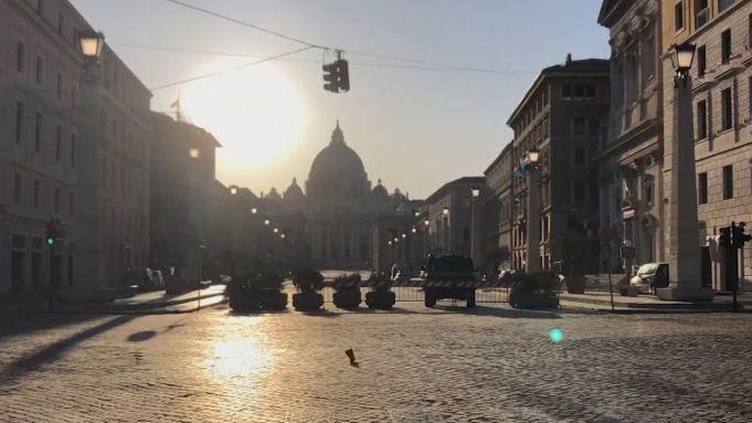 Timelapse video of empty Rome in lockdown