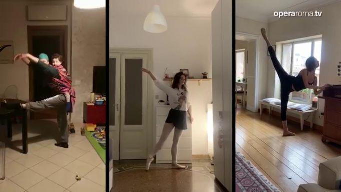 Rome Opera House dancers train at home