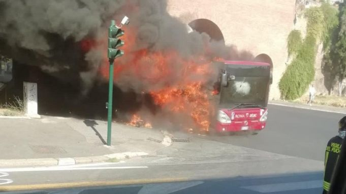 Two Rome buses burst into flames