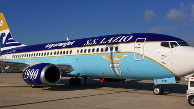 S.S. Lazio customised aircraft presented at Ciampino airport