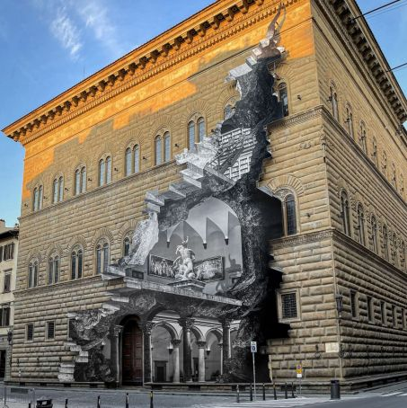 Florence unveils street art 'wound' at Palazzo Strozzi