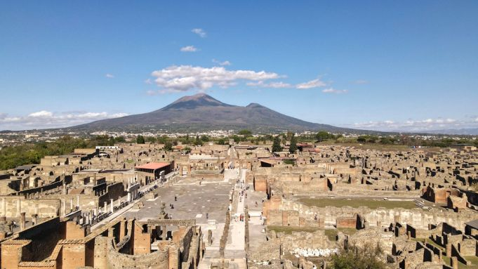 Aerial view at ruins of Pompeii