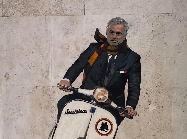 Rome mural shows Mourinho on a Vespa