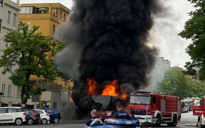 Rome city bus catches fire