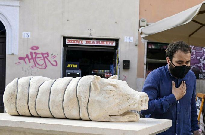 Rome dead pig sculpture sparks outcry