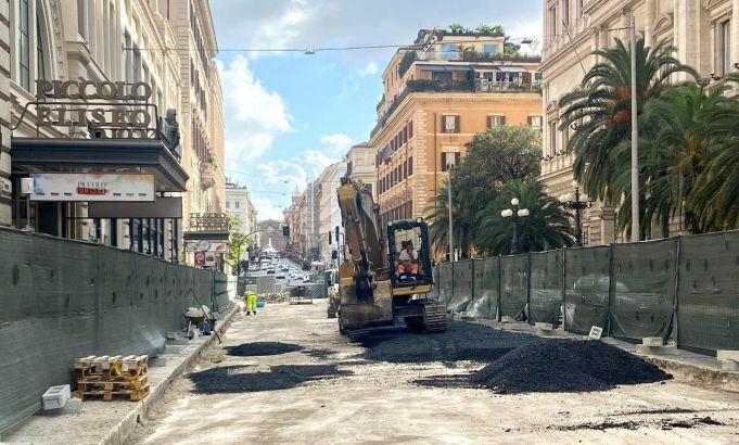 Rome removes cobblestones from Via Nazionale