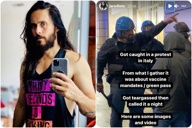 Jared Leto caught in Rome 'No Green Pass' protest