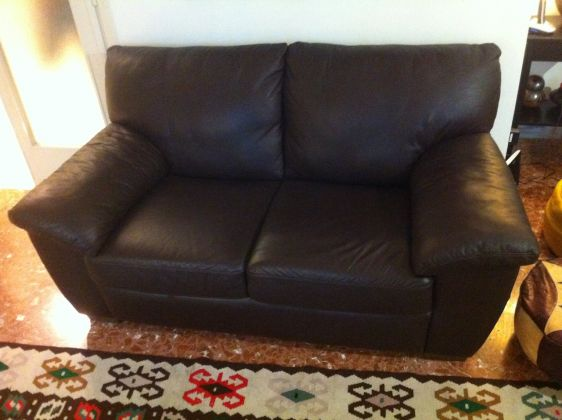 Genuine leather couch - dark brown - image 1