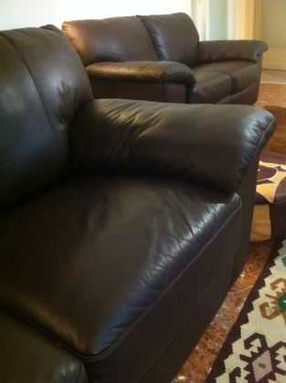Genuine leather couch - dark brown - image 3