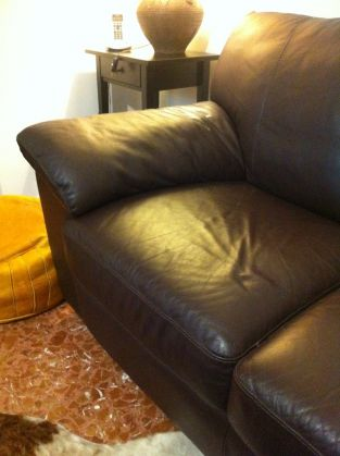 Genuine leather couch - dark brown - image 5