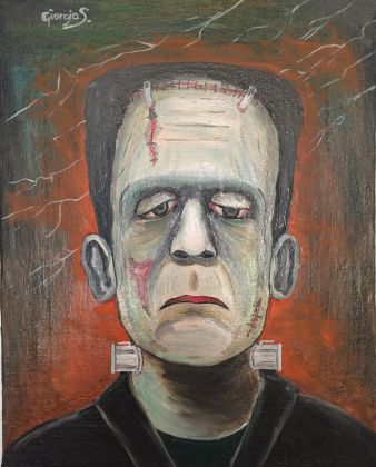 Frankenstein master painting oil on canvas portrait, Italian art - image 1