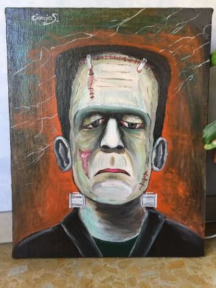 Frankenstein master painting oil on canvas portrait, Italian art - image 4