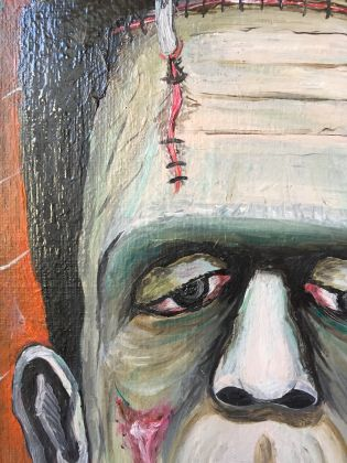 Frankenstein master painting oil on canvas portrait, Italian art - image 6