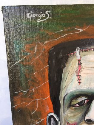 Frankenstein master painting oil on canvas portrait, Italian art - image 5