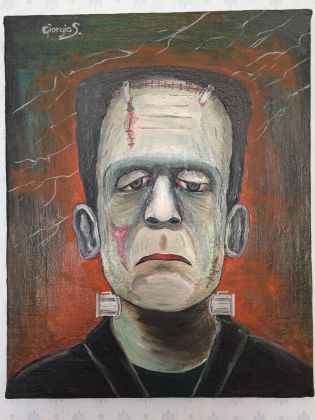 Frankenstein master painting oil on canvas portrait, Italian art - image 9
