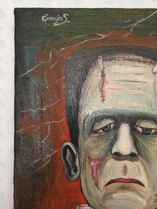 Frankenstein master painting oil on canvas portrait, Italian art - image 8