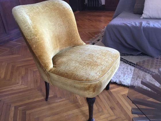 Vintage set of chairs and ottoman - image 3