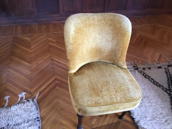 Vintage set of chairs and ottoman - image 1