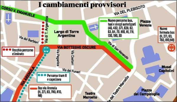 Largo Argentina Bus Stops Moved Wanted In Rome - Argentina bus map