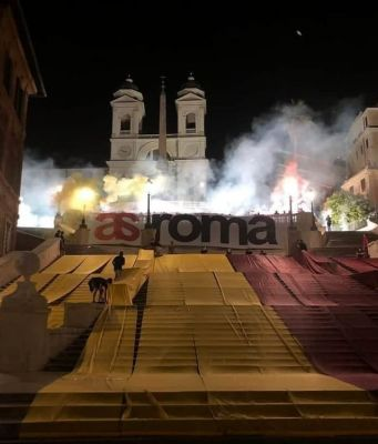 AS Roma football fans celebrate club at Spanish Steps in Rome