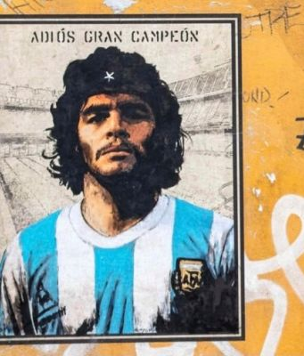 Diego Maradona as Che Guevara in Rome street art