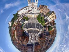 Bubble aerial shot of Spanish Steps