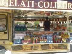 View of Palatine Hill obscured by snack bar