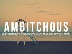 New word #7. Ambitchous.
