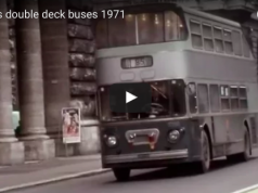 Traffic in Rome and double deck green buses 1971