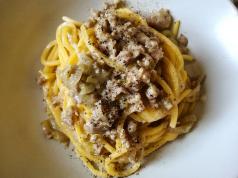 Wanted in Rome recipe: Tonnarelli con Uva e Salsiccia