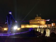 Tightrope act over Rome's Tiber river