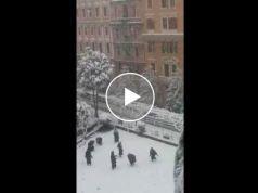 Nuns enjoying snow in Rome