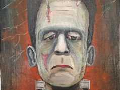Frankenstein master painting oil on canvas portrait, Italian art