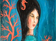 Little mermaid art oil on canvas painting abstract art original signed