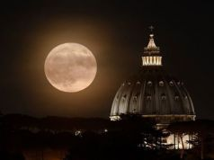 Supermoon over Rome on 19 February