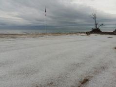 Hailstones on Anzio beach on 15 May
