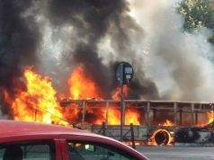 Rome city bus catches fire on Via Appia Nuova