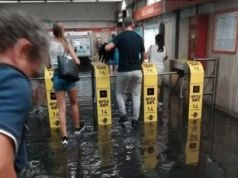 Rome metro station floods during rainstorm